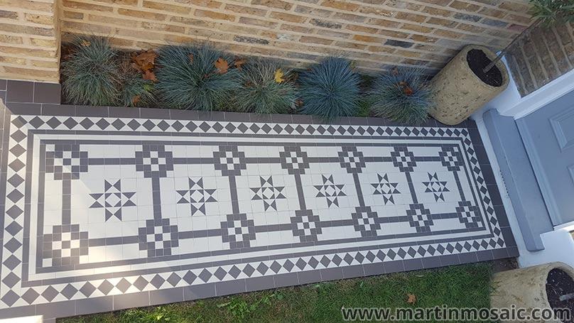 Geometric mosaic floor tiles.