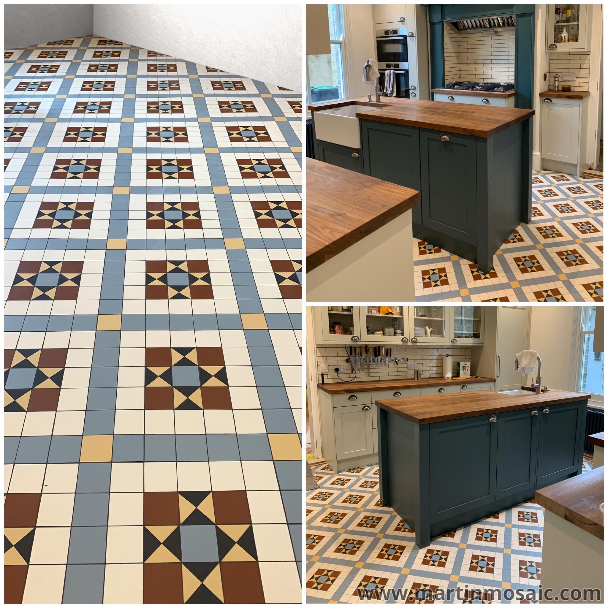 Victorian floor tiles - kitchen. Tiles 50x50mm thick 5mm. Colours: super white, pale blue, cognac, red, black.