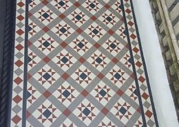 Pathway Front Garden, victorian tiles 5cmx5cm thick 5mm. Colours: white, black, grey, red.
