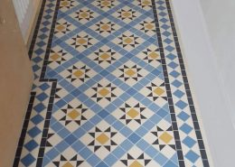 Victorian floor tiles - Hallway. Tiles 50x50mm thick 5mm. Colours: super white, blue, dark blue, yellow.