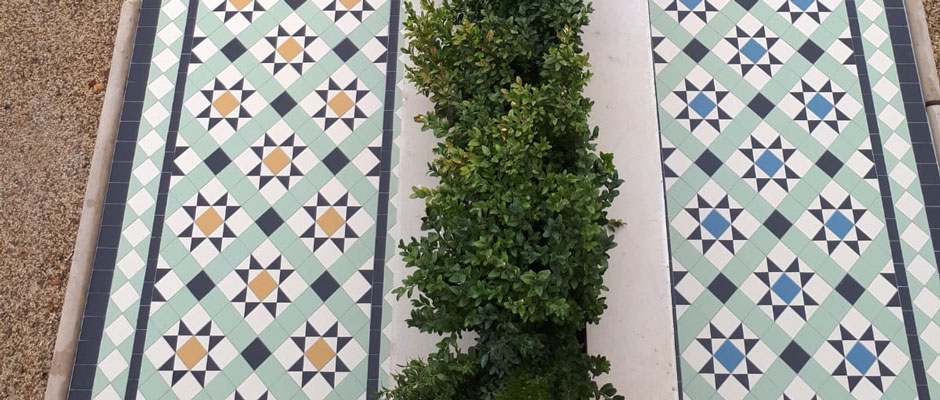 Victorian floor tiles, pathway - Martin Mosaic