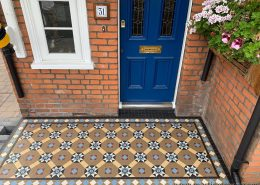 Entrance. Tiles 5cm x 5cm thick 5mm. Colours: coffe, white, cognac, black, blue, red, encaustic tiles. Ashford.