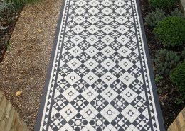 Pathway Tiles 5cm x 5cm thick 5mm. Colour: super white, black. Putney.