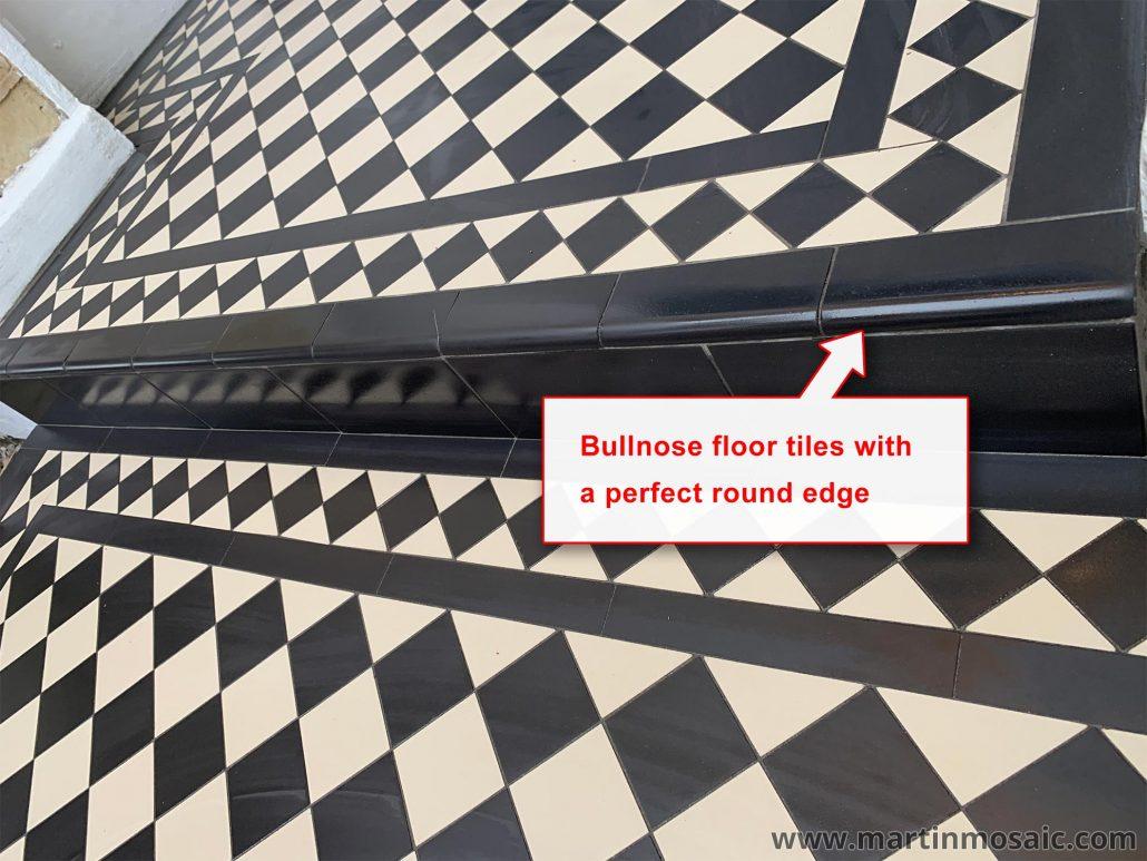 Step tread bullnose floor tiles. Winckelmans tiles. Size: 100x100mm thick 9mm.