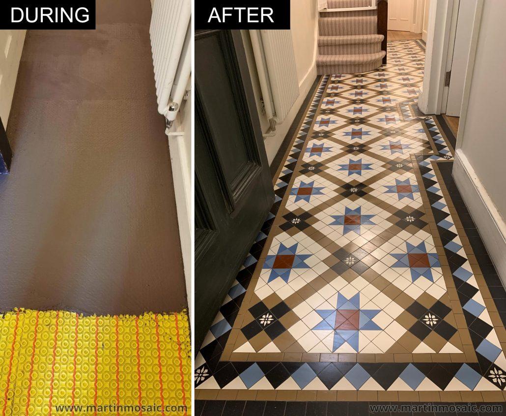 Tiles 50x50mm thick 5mm, encaustic tiles. Colours: coffee, blue, dark blue, white, black, red.